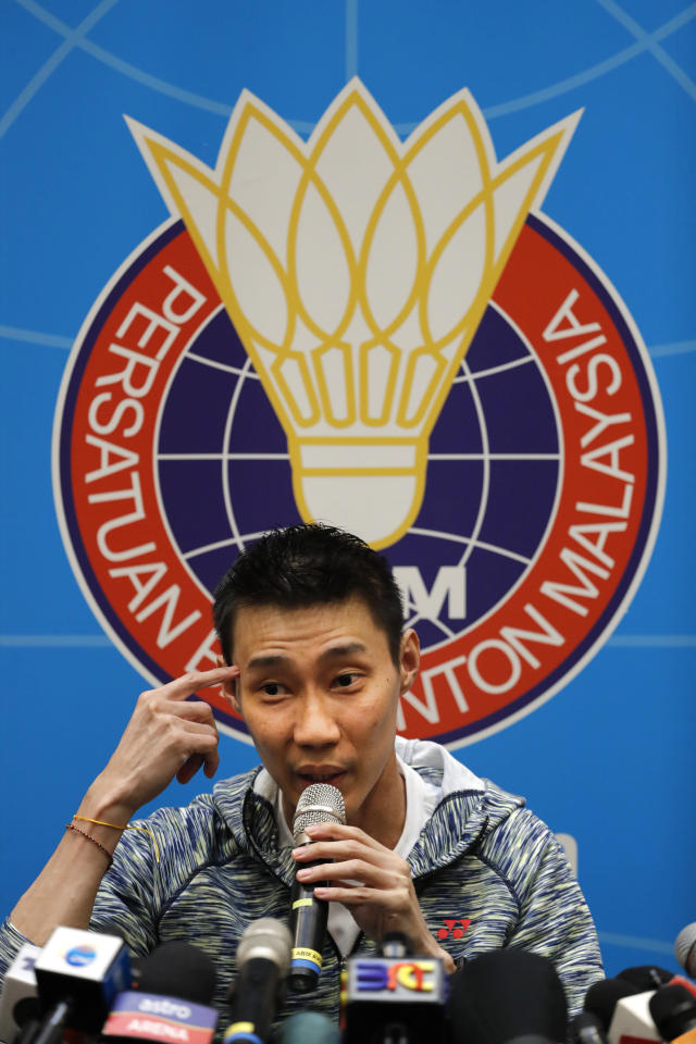 Former world No. 1 badminton player Lee Chong Wei from Malaysia speaks during a press conference in Kuala Lumpur, Malaysia, Thursday, Nov. 8, 2018. Chong Wei says in press conference he plan to return to field and eyes on Tokyo Olympics if he bodies condition are permitted. (AP Photo/Vincent Thian)