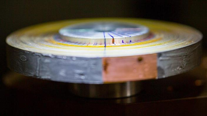The magnet uses a tightly wound superconducting tape