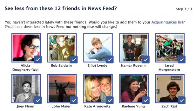 Facebook encourages users to isolate friends on the Acquaintance List