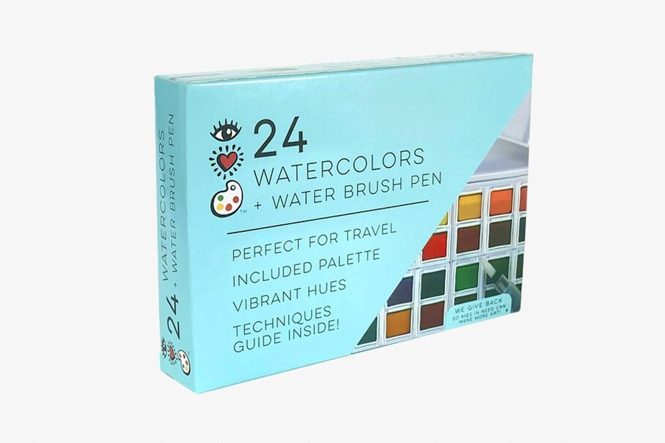 """Slightly bigger than a smartphone, this TSA-friendly watercolor kit includes 24 pigmented paints, a removable palette, cleaning sponge, and a genius brush pen that can be filled with water for effortless, splash-proof blending and painting, no matter the locale. $25, Maisonette. <a href=""""https://www.maisonette.com/product/24-watercolors-water-brush-pen"""" rel=""""nofollow noopener"""" target=""""_blank"""" data-ylk=""""slk:Get it now!"""" class=""""link rapid-noclick-resp"""">Get it now!</a>"""