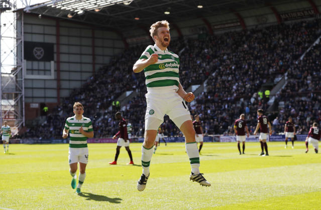 Britain Football Soccer - Heart of Midlothian v Celtic - Scottish Premiership - Tynecastle - 2/4/17 Celtic's Stuart Armstrong celebrates scoring their third goal Reuters / Russell Cheyne Livepic