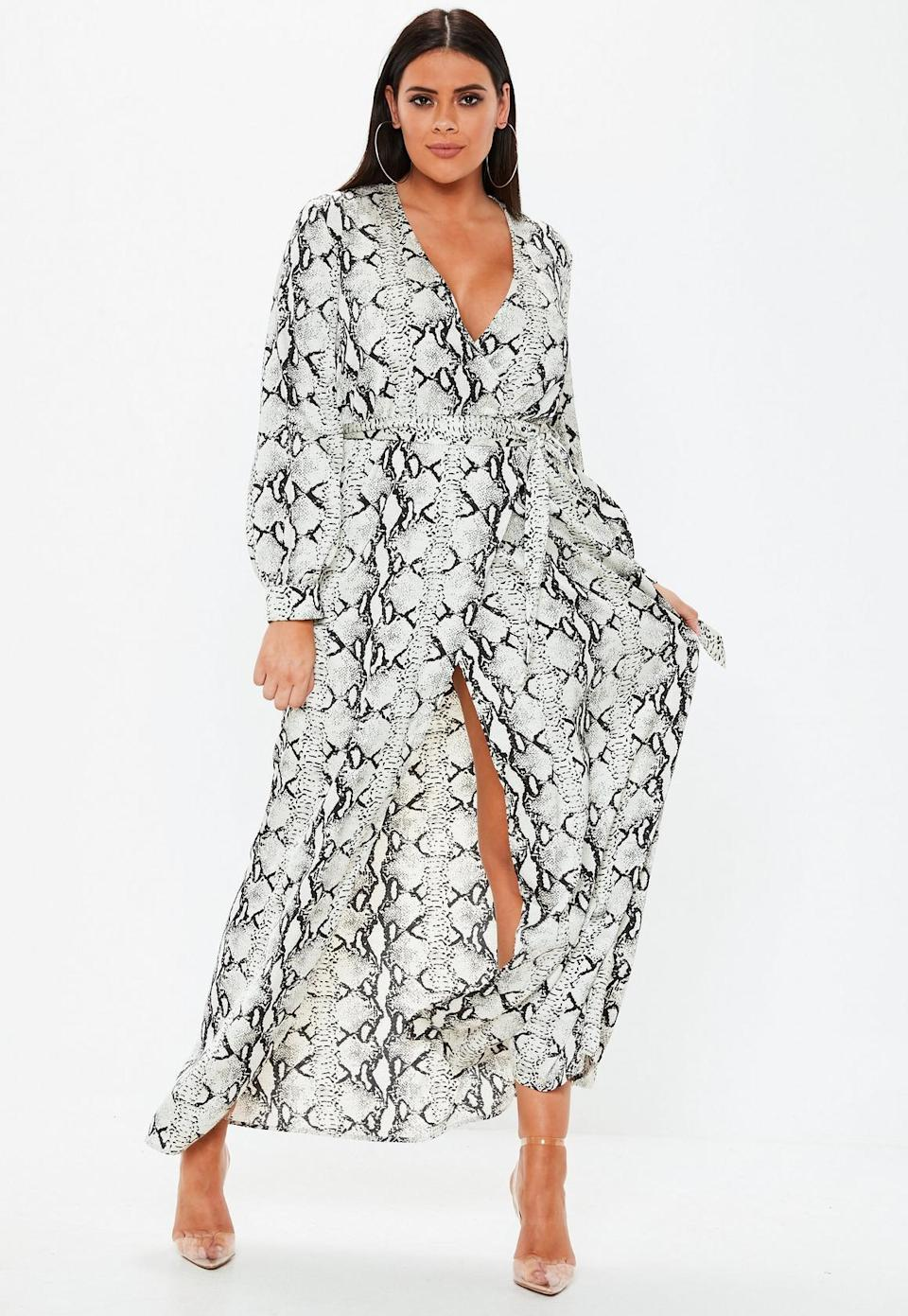 Missguided Gray Snake Print Plunge Maxi Dress (Photo: Missguided)