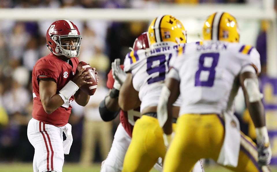 Alabama's Tua Tagovailoa threw for 295 yards and two touchdowns against LSU in 2018. (Gregory Shamus/Getty Images)