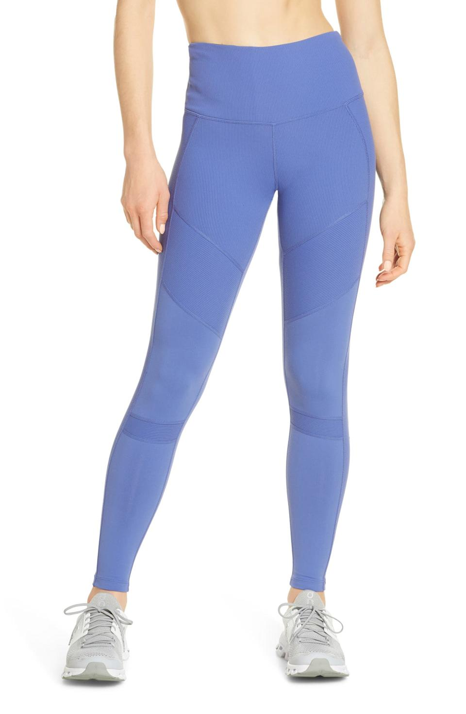 Zella Moto Ribbed High Waist Ankle Leggings. Image via Nordstrom.