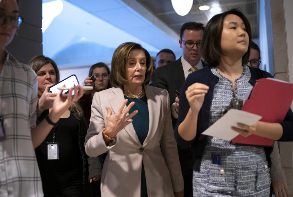 Speaker of the House Nancy Pelosi, D-Calif., arrives to meet with Vice President Mike Pence and the White House coronavirus task force leaders, on Capitol Hill in Washington, Wednesday, March 4, 2020. (AP Photo/J. Scott Applewhite)