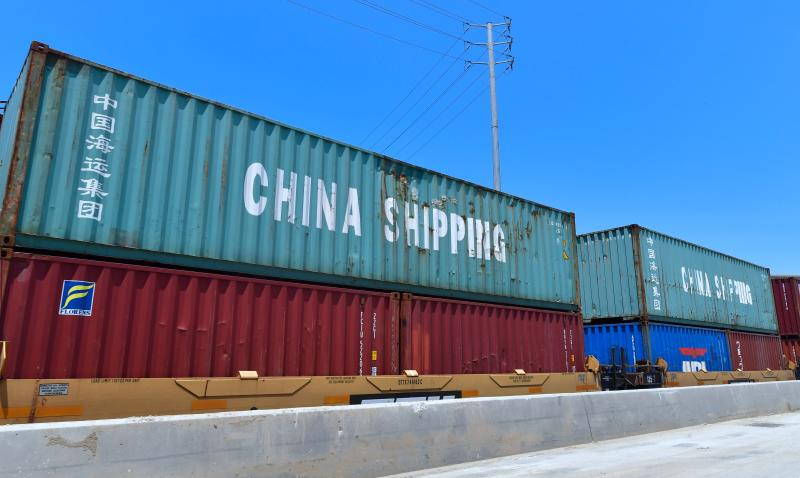 Shipping containers, including those of China Shipping, a shipping conglomerate under direct administration of China'a State Council, await transportation on a rail line at the Port of Long Beach on July 12, 2018 in Long Beach, California. - The Trump administration announced tariffs on $200 Billion more Chinese goods on July 11 with China vowing to retaliate. (Photo by Frederic J. BROWN / AFP) (Photo credit should read FREDERIC J. BROWN/AFP/Getty Images)