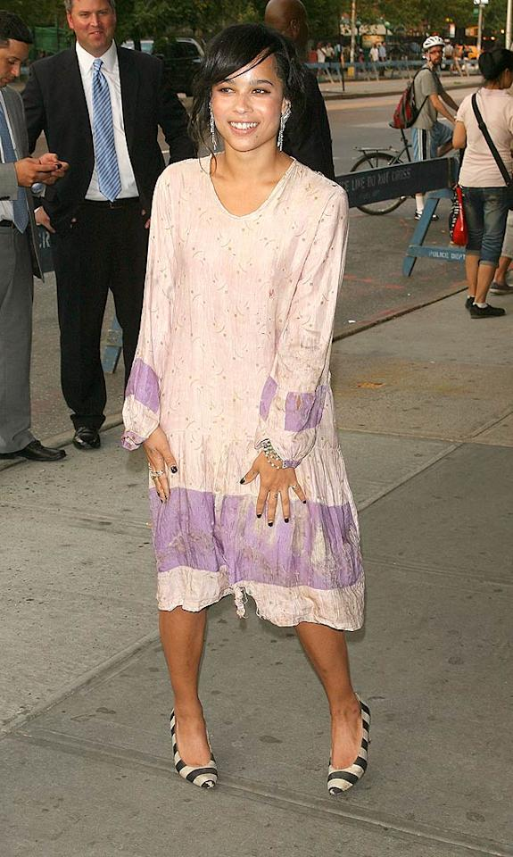 "Up-and-comer Zoe Kravitz -- who happens to be the daughter of rocker Lenny Kravitz and former ""Cosby"" kid Lisa Bonet -- looks like she rolled out of bed in her frumpy nightgown en route to the premiere of ""Twelve"" at Landmark's Sunshine Cinema in NYC. Jim Spellman/<a href=""http://www.wireimage.com"" target=""new"">WireImage.com</a> - July 28, 2010"