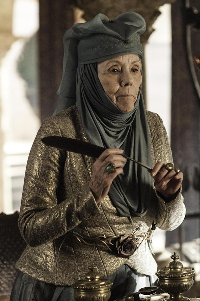 "No sweet grandmother here. Olenna Tyrell (Diana Rigg) was nicknamed ""The Queen of Thorns"" for a reason -- her cunning and sharp tongue."