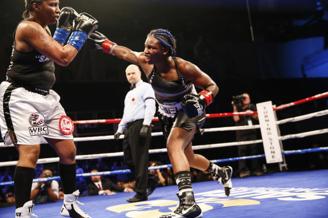Claressa Shields throws a right at Tori Nelson during a fight in January. (Stephanie Trapp/Showtime via AP)