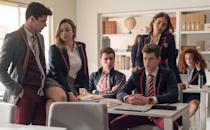 "<p>Though they meet for the first time through their mutual friend Christian, Omar and Ander from <strong><a href=""https://www.popsugar.com/entertainment/netflix-elite-renewed-for-season-5-48184587"" class=""link rapid-noclick-resp"" rel=""nofollow noopener"" target=""_blank"" data-ylk=""slk:Elite"">Elite</a></strong> end up becoming romantically involved after matching on a gay dating app. Due to Omar's Muslim background, the two are forced to keep their relationship a secret from Omar's family, with only the support of his sister Nadia. But when Ander undergoes treatment for his cancer and begins pushing his boyfriend away, Omar turns to Nadia's boyfriend, Malick.</p>"