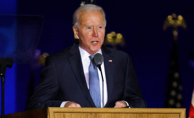 U.S. Democratic presidential nominee and former Vice President Joe Biden reacts to early results from the 2020 U.S. presidential election in Wilmington