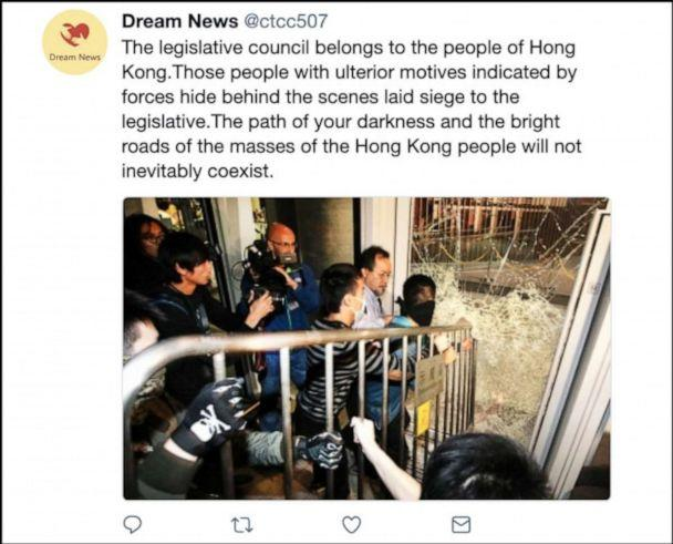 PHOTO: An example of the kinds of content that Twitter says were deliberately attempting to sow political discord in Hong Kong, including undermining the protest movement. (Twitter)