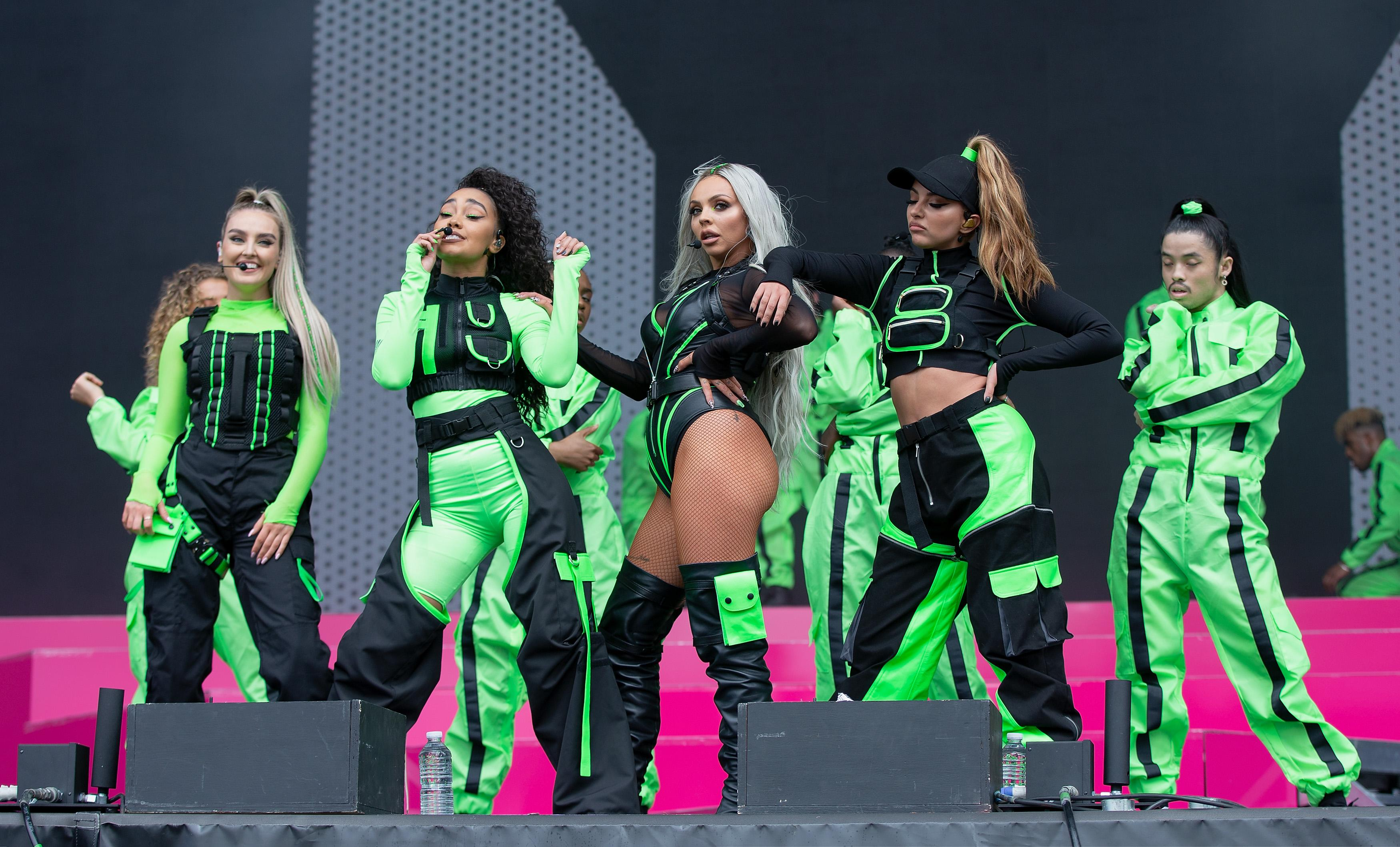 MIDDLESBROUGH, ENGLAND - MAY 26: (L-R) Perrie Edwards, Leigh Anne Pinnock, Jesy Nelson and Jade Thirlwall of Little Mix perform at the Radio 1 Big Weekend at Stewart Park on May 26, 2019 in Middlesbrough, England. (Photo by Jo Hale/Redferns)