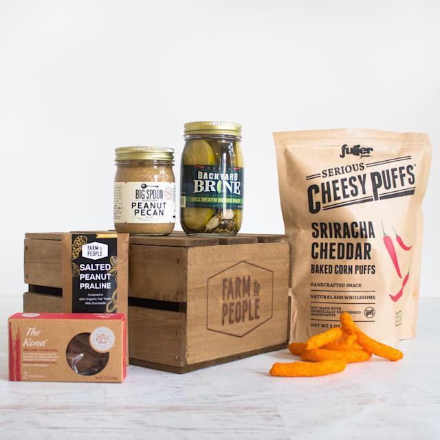 "<p>This small-batch food gift set is pretty awesome! Stocked with peanut pecan butter, crispy dill pickles, a chewy chocolate brownie, spicy cheesy puffs, and more, there's enough here to satisfy mom (and baby's) uncanny cravings. Pregnancy Cravings in a tote bag, $50, <a href=""https://www.farmtopeople.com/collections/bundles-gifts/products/pregnancy-cravings"" rel=""nofollow noopener"" target=""_blank"" data-ylk=""slk:farmtopeople.com."" class=""link rapid-noclick-resp"">farmtopeople.com.</a> </p>"