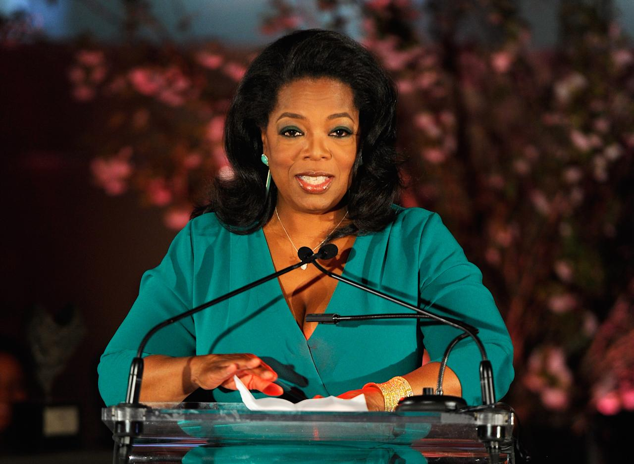 NEW YORK, NY - MARCH 09:  Oprah Winfrey speaks onstage at the 3rd annual Diane Von Furstenberg awards at the United Nations on March 9, 2012 in New York City.  (Photo by Andrew H. Walker/Getty Images)