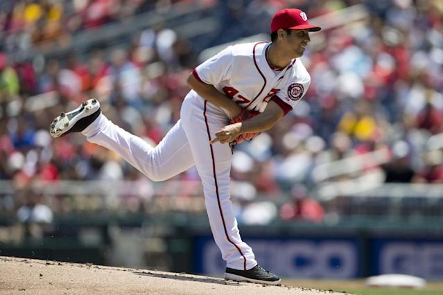 Washington Nationals pitcher Gio Gonzalez delivers a pitch during the first inning of a baseball game against the Pittsburgh Pirates at Nationals Park on Thursday, July 25, 2013, in Washington. (AP Photo/Evan Vucci)