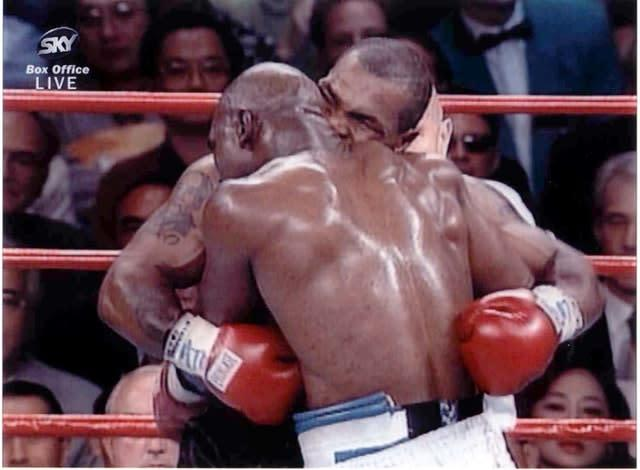 Mike Tyson bit Evander Holyfield's left ear in the third round of their WBA Heavyweight match at the MGM Grand in Las Vegas in 1997 (Sky Sports/PA)