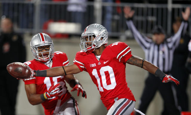 Ohio State wide receiver Corey Brown (10) celebrates after returning a punt 76 yards for a touchdown during an NCAA college football game against Nebraska, Saturday, Oct. 6, 2012, in Columbus, Ohio. (AP Photo/Tony Dejak)