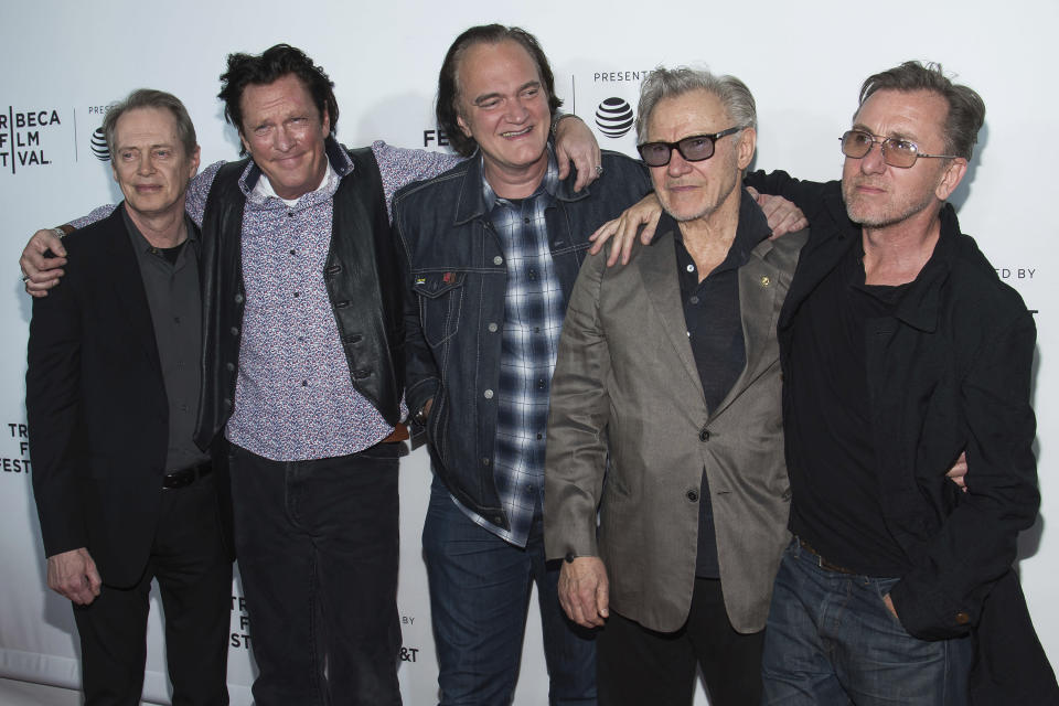 """Steve Buscemi, Michael Madsen, Quentin Tarantino, Harvey Keitel and Tim Roth, from left, attend the """"Reservoir Dogs"""" 25th anniversary screening during the Tribeca Film Festival on Friday, April 28, 2017, in New York. (Photo by Charles Sykes/Invision/AP)"""