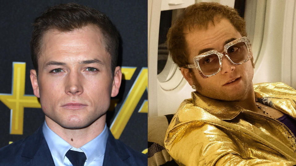 Egerton plays Elton John throughout several decades of his life in <em>Rocketman</em>, sampling many of the star's most outlandish looks. (Credit: Steve Granitz/WireImage/Paramount)