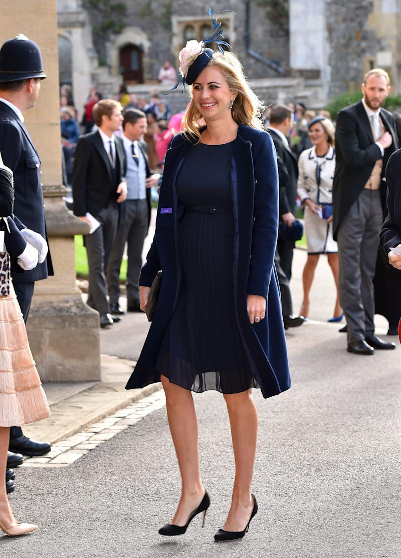 Holly Branson arrives ahead of the wedding of Princess Eugenie of York to Jack Brooksbank at Windsor Castle on October 12, 2018, in Windsor, England.