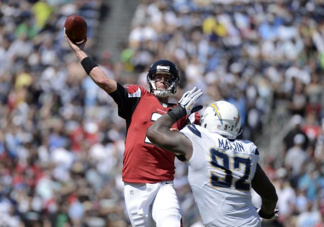 SAN DIEGO, CA - SEPTEMBER 23: Vaughn Martin #92 of the San Diego Chargers pressures Matt Ryan #2 of the Atlanta Falcons on September 23, 2012 at Qualcomm Stadium in San Diego, California. (Photo by Donald Miralle/Getty Images)