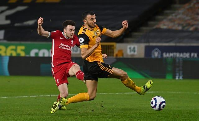 Diogo Jota fires home the only goal of the game against his old club