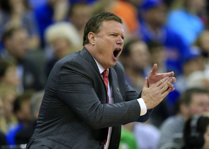 Kansas coach Bill Self reacts to a call during the first half of the team's final against Oregon in the NCAA men's college basketball tournament Midwest Regional, Saturday, March 25, 2017, in Kansas City, Mo. (AP Photo/Orlin Wagner)