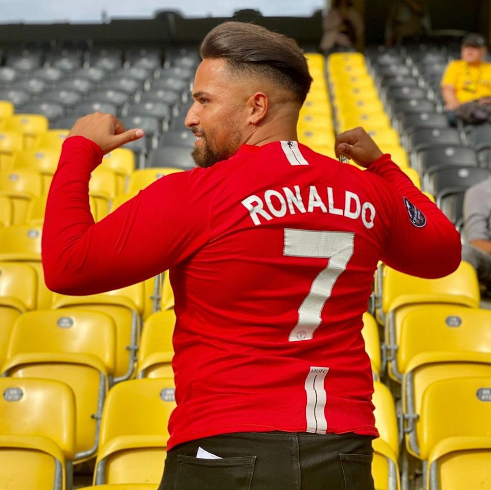 A Ronaldo fan has arrived at the ground nice and early. - GETTY IMAGES