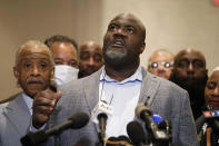 George Floyd's brother Rodney Floyd speaks during a news conference after the verdict was read in the trial of former Minneapolis Police officer Derek Chauvin, Tuesday, April 20, 2021, in Minneapolis. (AP Photo/John Minchillo)