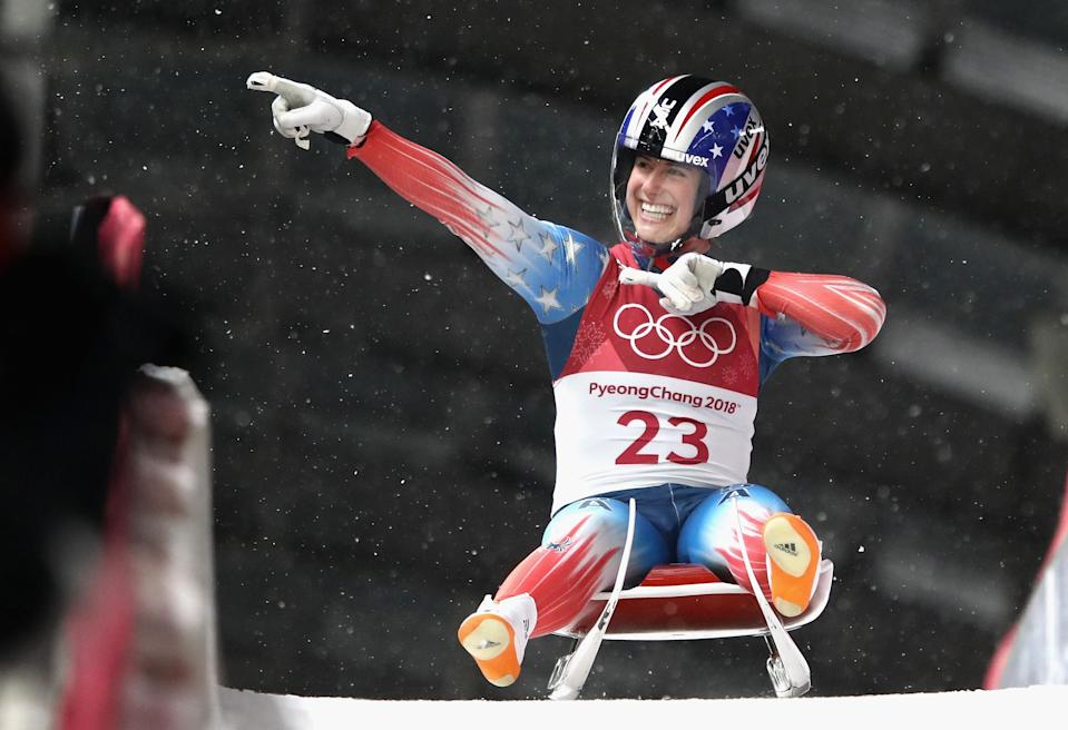 <p>Emily Sweeney of the United States reacts following her run during the Luge Women's Singles run 3 on day four of the PyeongChang 2018 Winter Olympic Games at Olympic Sliding Centre on February 13, 2018 in Pyeongchang-gun, South Korea. (Photo by Clive Mason/Getty Images) </p>