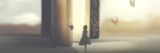 Woman walking into a book with butterflies.