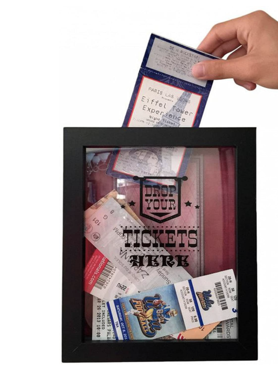 """<p><strong>TicketShadowBox</strong></p><p>amazon.com</p><p><strong>$19.97</strong></p><p><a href=""""https://www.amazon.com/dp/B01DOF8DZG?tag=syn-yahoo-20&ascsubtag=%5Bartid%7C10065.g.606%5Bsrc%7Cyahoo-us"""" rel=""""nofollow noopener"""" target=""""_blank"""" data-ylk=""""slk:Shop Now"""" class=""""link rapid-noclick-resp"""">Shop Now</a></p><p>So he can look back on all the concerts you attended before 2020.</p>"""