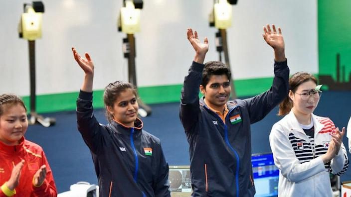 Indian shooters Manu Bhaker and Saurabh Chaudhary won the gold in the final of mixed 10m Air Pistol at ISSF World Cup, at Karni Singh Shooting Ranges on 27 February 2019 in New Delhi, India