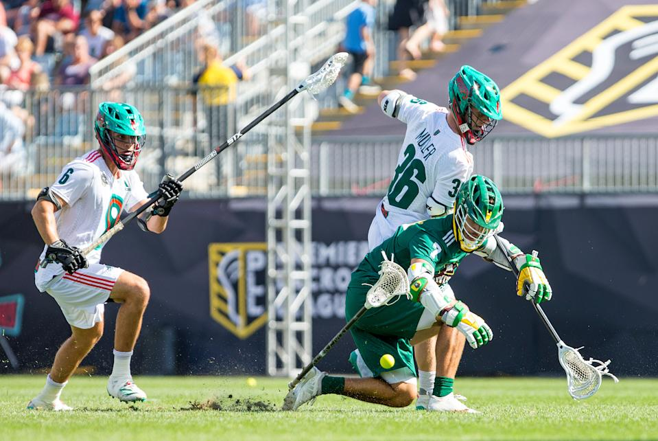 CHESTER, PA - SEPTEMBER 21: Whipsnakes LC defense Tim Muller (36) and Redwoods LC attack Jules Heningburg (7) in action during the Premier Lacrosse League Championship game between Redwoods LC and Whipsnakes LC on September 21, 2019, at Talen Energy Stadium in Chester, PA. (Photo by M. Anthony Nesmith/Icon Sportswire via Getty Images