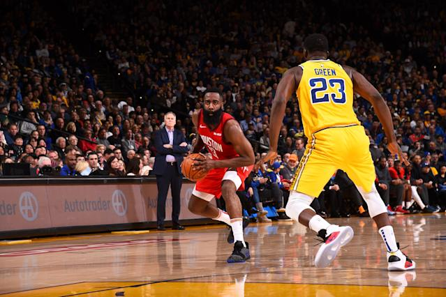 James Harden of the Houston Rockets handles the ball against the Golden State Warriors on January 3, 2019 at Oracle Arena in Oakland, California. (Noah Graham/Getty Images)