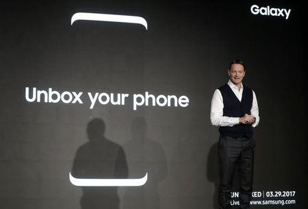 David Lowes, Chief Marketing Officer of Samsung Europe, speaks during an event at Mobile World Congress in Barcelona, Spain, February 26, 2017.  REUTERS/Eric Gaillard