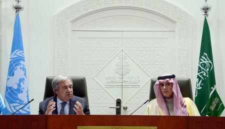 U.N. Secretary-General Antonio Guterres and Saudi Foreign Minister Adel al-Jubeir attend a joint news conference in Riyadh, Saudi Arabia February 12, 2017. Saudi Press Agency/Handout via REUTERS