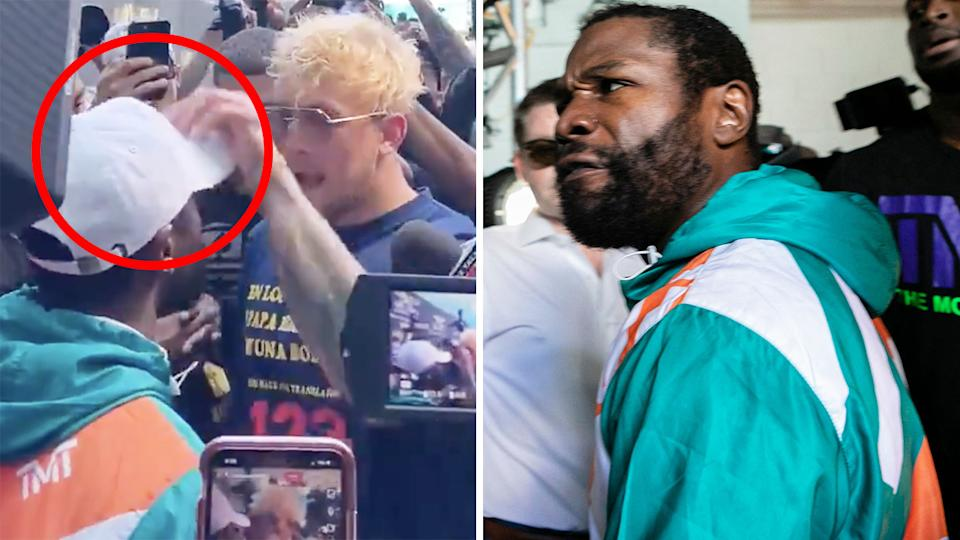 Floyd Mayweather chased Youtuber Jake Paul after the brother of Logan Paul, Mayweather's upcoming opponent, stole his hat at a media event. Pictures: Twitter/Showtime Boxing/Getty Images