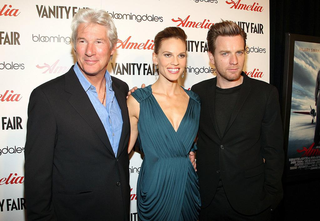 "<a href=""http://movies.yahoo.com/movie/contributor/1800017075"">Richard Gere</a>, <a href=""http://movies.yahoo.com/movie/contributor/1800020739"">Hilary Swank</a> and <a href=""http://movies.yahoo.com/movie/contributor/1800019128"">Ewan McGregor</a> at the New York City premiere of <a href=""http://movies.yahoo.com/movie/1810038855/info"">Amelia</a> - 10/20/2009"