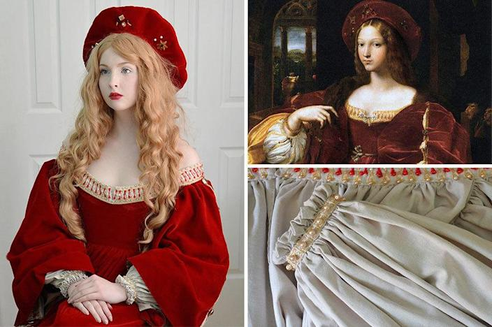"<p>She also recreates historical artwork, such as this tribute to Portrait of Doña Isabel de Requesens by <a href=""http://www.britannica.com/EBchecked/topic/234428/Giulio-Romano/images-videos/123665/giulio-romano-portrait-of-dona-isabel-de-requesens"" rel=""nofollow noopener"" target=""_blank"" data-ylk=""slk:Raphael and Giulio Romano"" class=""link rapid-noclick-resp"">Raphael and Giulio Romano</a>.</p>"