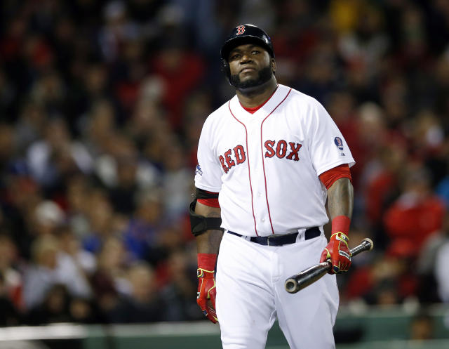 Boston Red Sox designated hitter David Ortiz walks back to the dugout after striking out against Detroit Tigers starting pitcher Anibal Sanchez in sixth inning during Game 1 of the American League baseball championship series Saturday, Oct. 12, 2013, in Boston. (AP Photo/Elise Amendola)