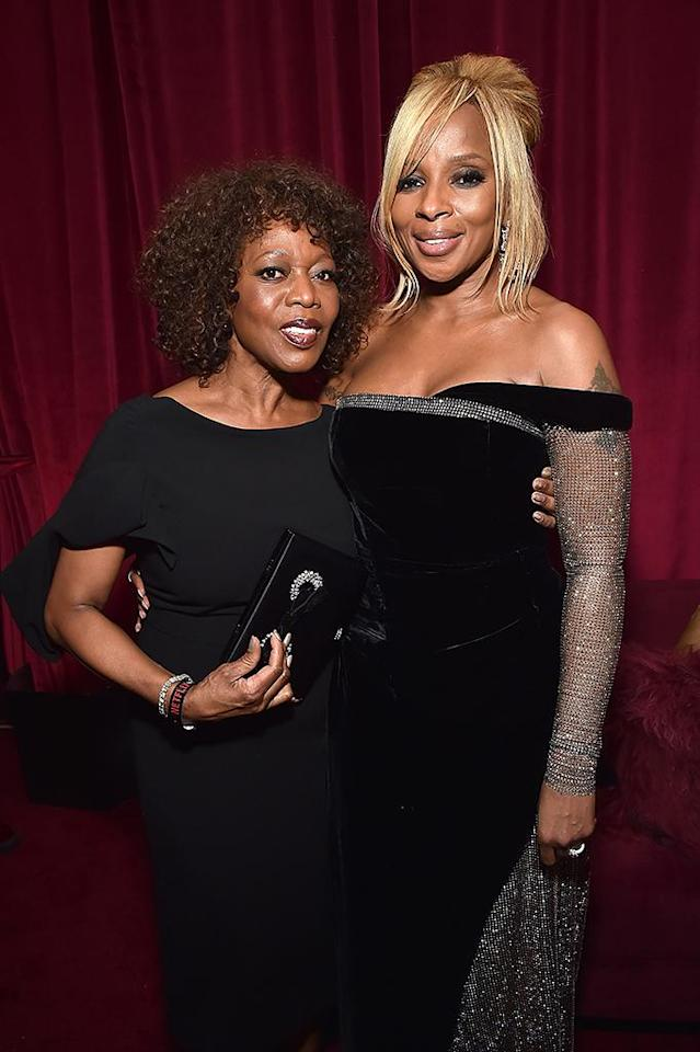 <p>Alfre Woodard and Mary J. Blige attend the Netflix party. (Photo: Kevin Mazur/Getty Images for Netflix) </p>