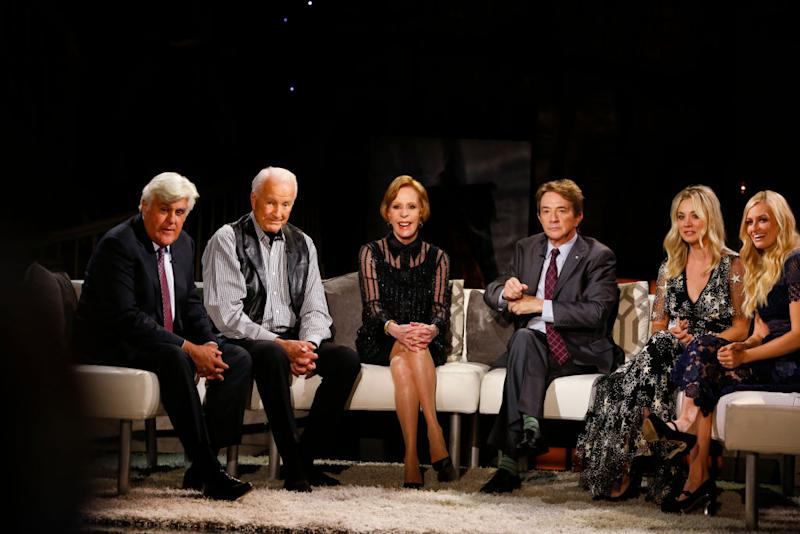 CBS celebrates the 50th anniversary of Carol Burnett's classic, award-winning comedy series with a new two-hour star-studded event featuring, from left, Jay Leno, Lyle Waggoner, Carol Burnett, Martin Short, Kaley Cuoco and Beth Behrs. (Photo: Cliff Lipson/CBS via Getty Images)