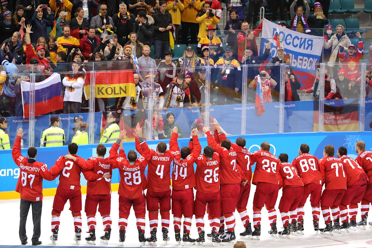 <p>Gold medal winners Olympic Athletes from Russia celebrate during the medal ceremony after defeating Germany 4-3 in overtime during the Men's Gold Medal Game on day sixteen of the PyeongChang 2018 Winter Olympic Games at Gangneung Hockey Centre on February 25, 2018 in Gangneung, South Korea. (Photo by Alexander Hassenstein/Getty Images) </p>