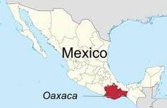 Map of Mexico showing Oaxaca