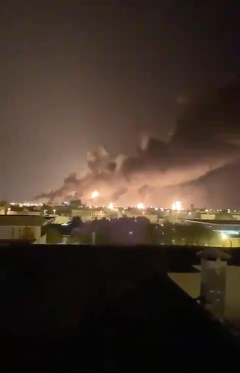Smoke fills the sky at the Abqaiq oil processing facility on Saturday, Sept. 14, 2019, in Saudi Arabia, where drones claimed by Yemen's Houthi rebels attacked the world's largest oil processing facility in the country.