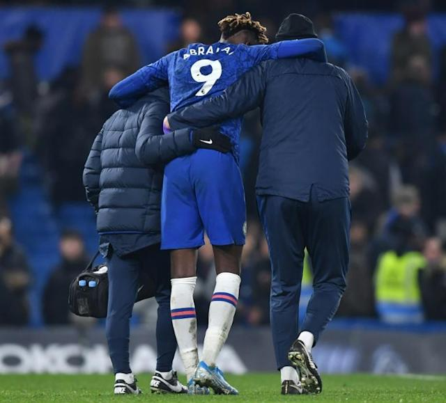 Tammy trouble: Chelsea's bad night was compounded by an injury to top scorer Tammy Abraham (centre) (AFP Photo/Ben STANSALL)