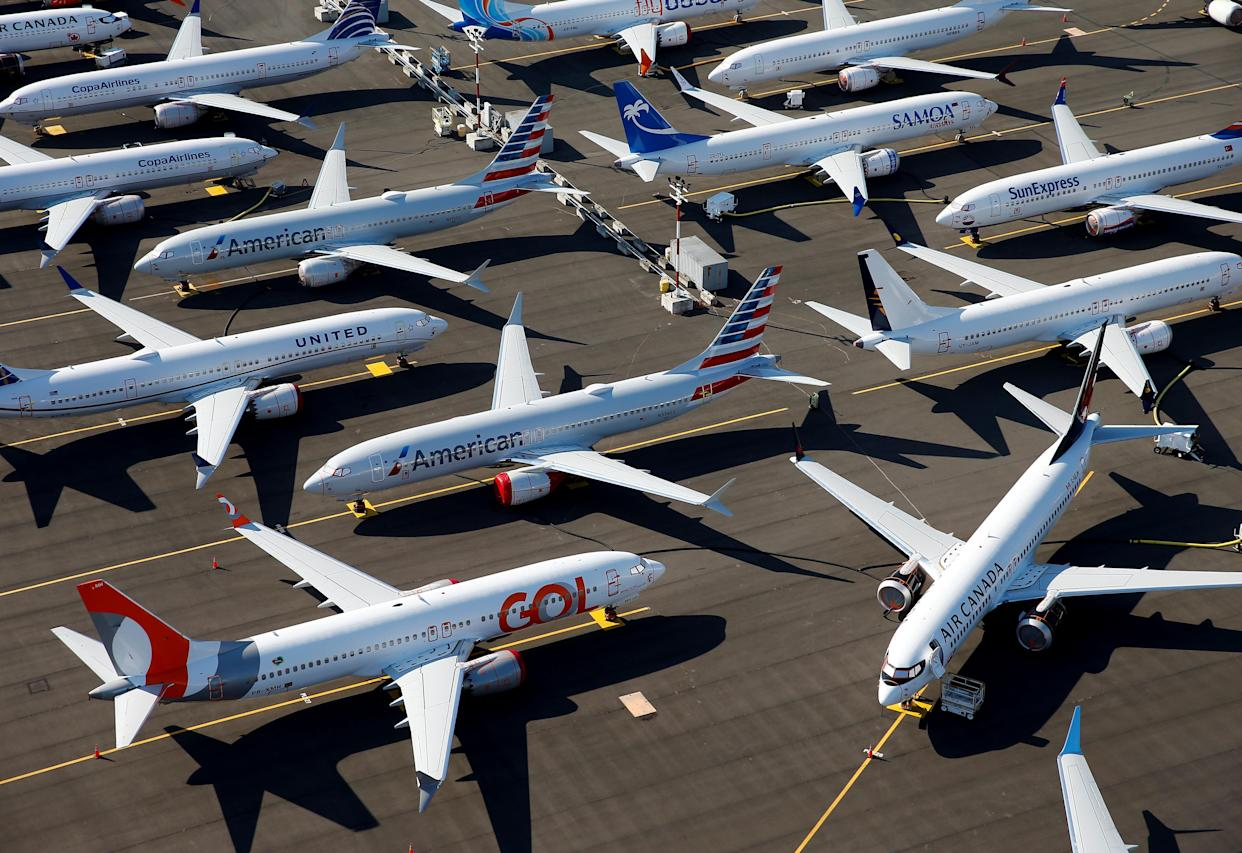 Grounded Boeing 737 MAX aircraft are seen parked in an aerial photo at Boeing Field in Seattle, Washington, U.S. July 1, 2019. Picture taken July 1, 2019. REUTERS/Lindsey Wasson