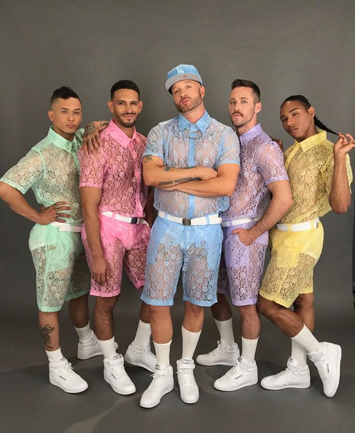 "<p>This takes breezy summer wear to the next level.<br /><br />Rapper Cazwell shared an <a rel=""nofollow"" href=""https://www.instagram.com/p/BUyNzyWh-5a/"">Instagram photo</a> of five men posing in pastel lace shorts and matching lace shirts paired with school boy-esque white socks and sneakers. The lacy see-through ensemble was created by clothing brand Hologram City and is available for pre-sale for $49 per piece — But it seems people aren't quite lining up to get them. Comments ranged from ""You've gone too far now"" to ""This is why we can't have nice things."" <em>(Photo: Instagram/cazwellnyc)</em> </p>"